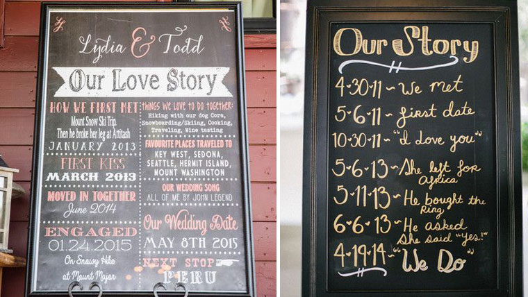 Create-a-timeline-signboard-at-the-wedding-to-tell-your-love-story